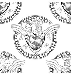 unicorn with heart and wings seamless pattern vector image
