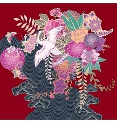 Vintage kimono floral motif vector