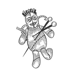 Voodoo doll sketch engraving vector