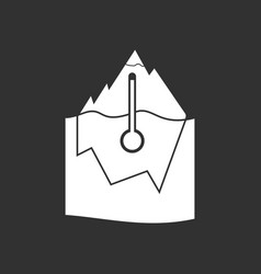White icon on black background iceberg and vector