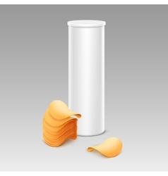 White Tube for Package Design with Potato Chips vector
