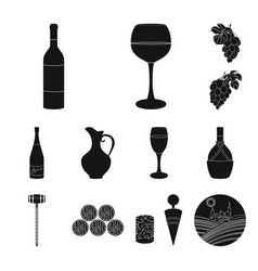 wine products black icons in set collection for vector image