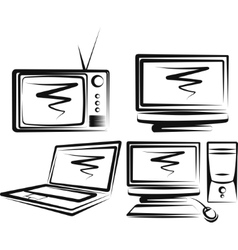 With a set computers and tv-sets vector