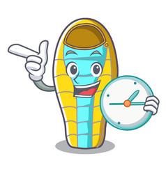 with clock sleeping bad character cartoon vector image