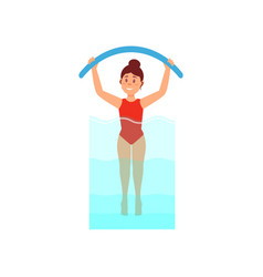 woman engaged in aqua aerobics with noodle active vector image