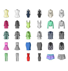 Women clothing cartoonmonochrom icons in set vector