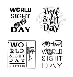World sight day banner set simple style vector
