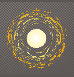 yellow sun disk emitting orange light hot sun vector image