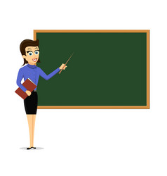 Young female teacher standing next to a chalkboard vector
