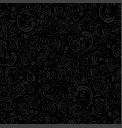 Curle and floral seamless background with waves vector