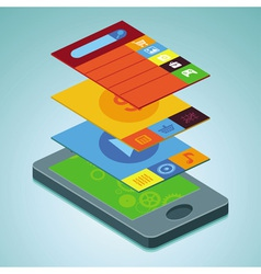 mobile phone with interface screens vector image