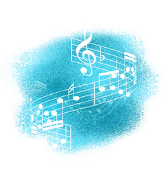 music notes on watercolour background vector image