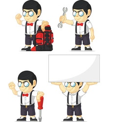 Nerd Boy Customizable Mascot 6 vector image vector image