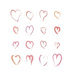 Set of pink hand drawn hearts on white vector image vector image