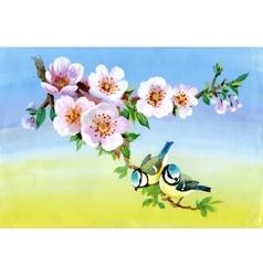 Garden flowers and birds watercolor vector image