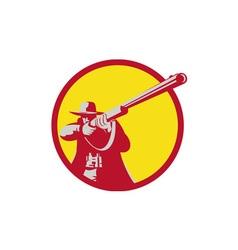 Hunter Aiming Shotgun Rifle Circle Retro vector image