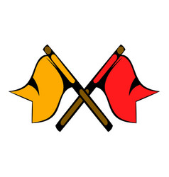 red and yellow flag icon cartoon vector image