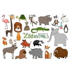 Set of hand-drawn zoo animals vector image vector image