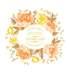 Vintage frame of yellow flowers on a white vector