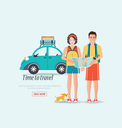 couple travelers carring map with suitcases on a vector image vector image