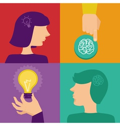 creativity and brainstorming concept - human brain vector image vector image