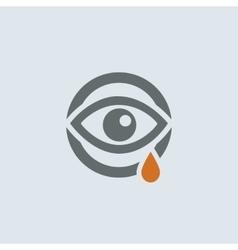Gray-orange Running Eye Round Icon vector image vector image
