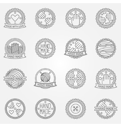 Hand made linear labels vector image