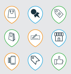 set of 9 e-commerce icons includes ticket mobile vector image