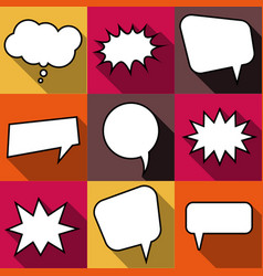 set of nine cartoon comic balloon speech bubbles vector image