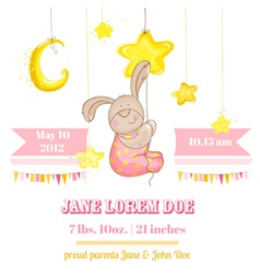 Baby Girl Arrival Card - with Baby Bunny and Stars vector image vector image