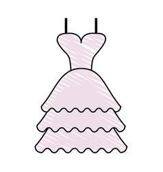 color crayon stripe image wedding dress fashion vector image