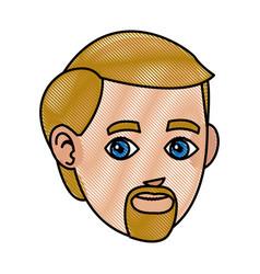 drawing head beard man character design vector image