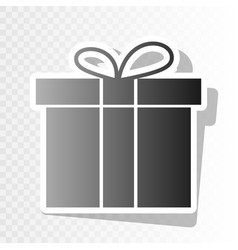 gift box sign new year blackish icon on vector image
