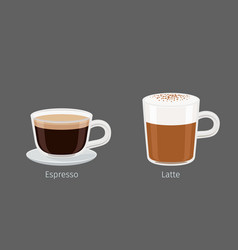 latte and espresso coffee drinks vector image