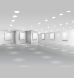 Realistic gallery hall with blank white canvases vector image vector image