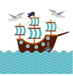 sailboat nautical seabird anchor marine concept vector image