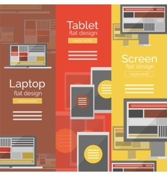 Set of flat design screen concepts vector image