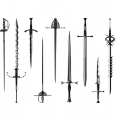 silhouette collection of swords vector image vector image