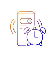 Alarm clock gradient linear icon vector