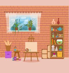 Art studio interior colorful vector