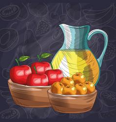 Baskets with apples oranges jar juice fresh fruit vector