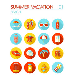 Beach flat icon set summer vacation vector