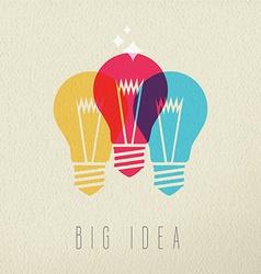 Big idea power concept color design of light bulb vector