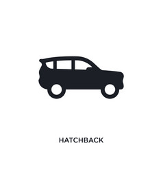 Black hatchback isolated icon simple element from vector