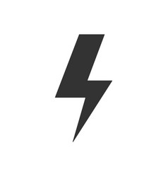black lightning icon on blank background in flat vector image