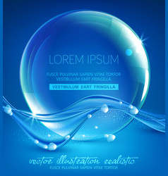 blue abstract background with waves and vector image
