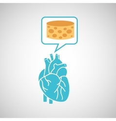 blue heart cheese icon graphic vector image