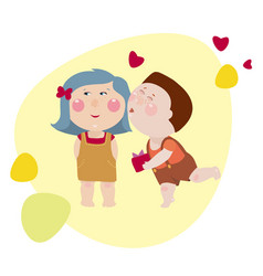 boy kisses the girl and gives a present box to her vector image