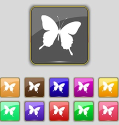 butterfly icon sign Set with eleven colored vector image