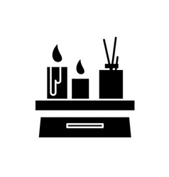 candles in the interior black icon sign on vector image